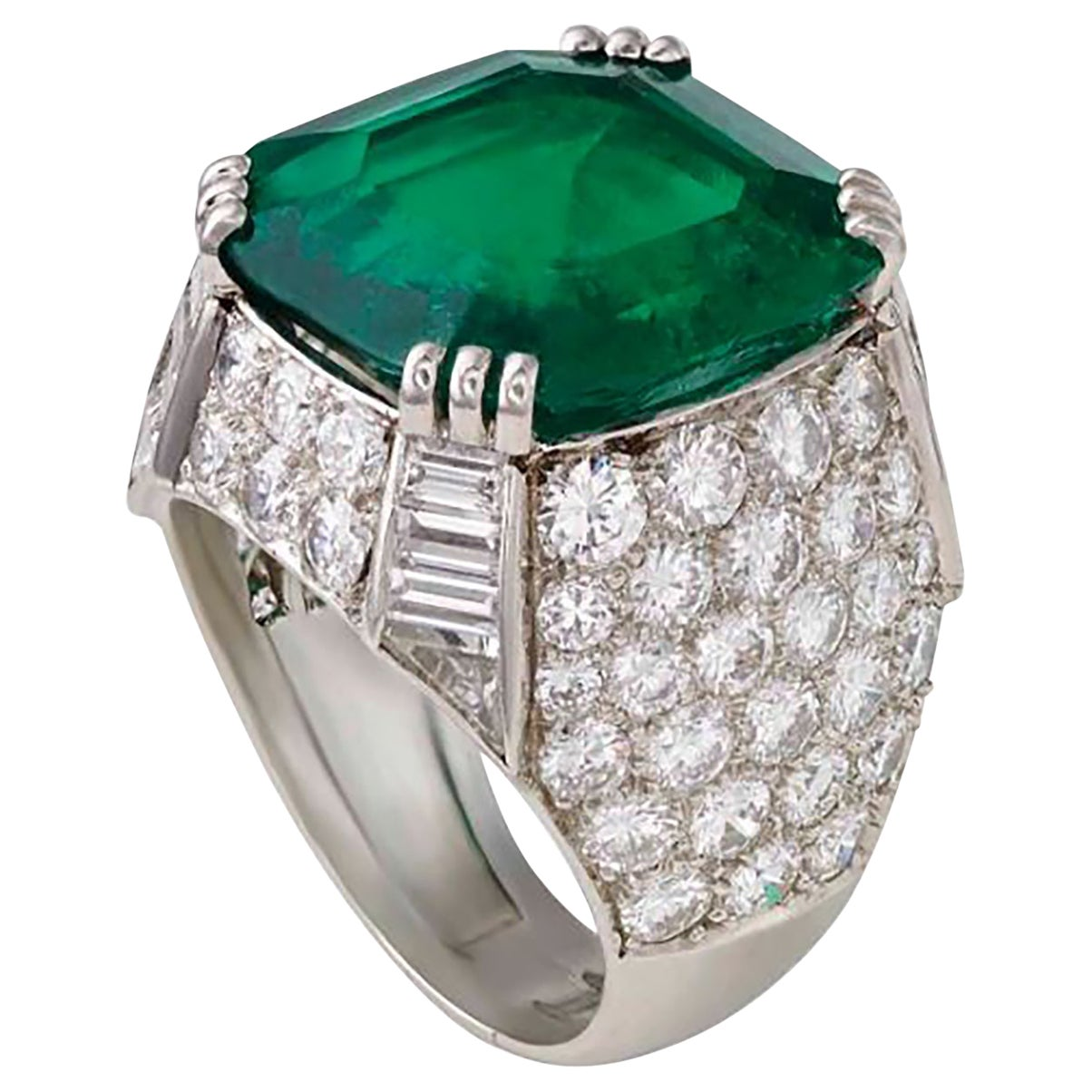 AGL Certified 11.38 Carat Colombian Emerald Cocktail Ring