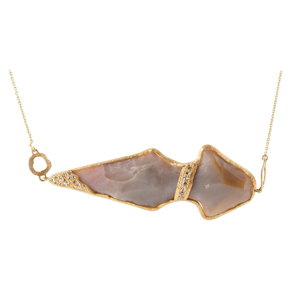 Arrowhead Necklace in 20K Yellow Gold with Agate and 1.02 Carat Diamonds