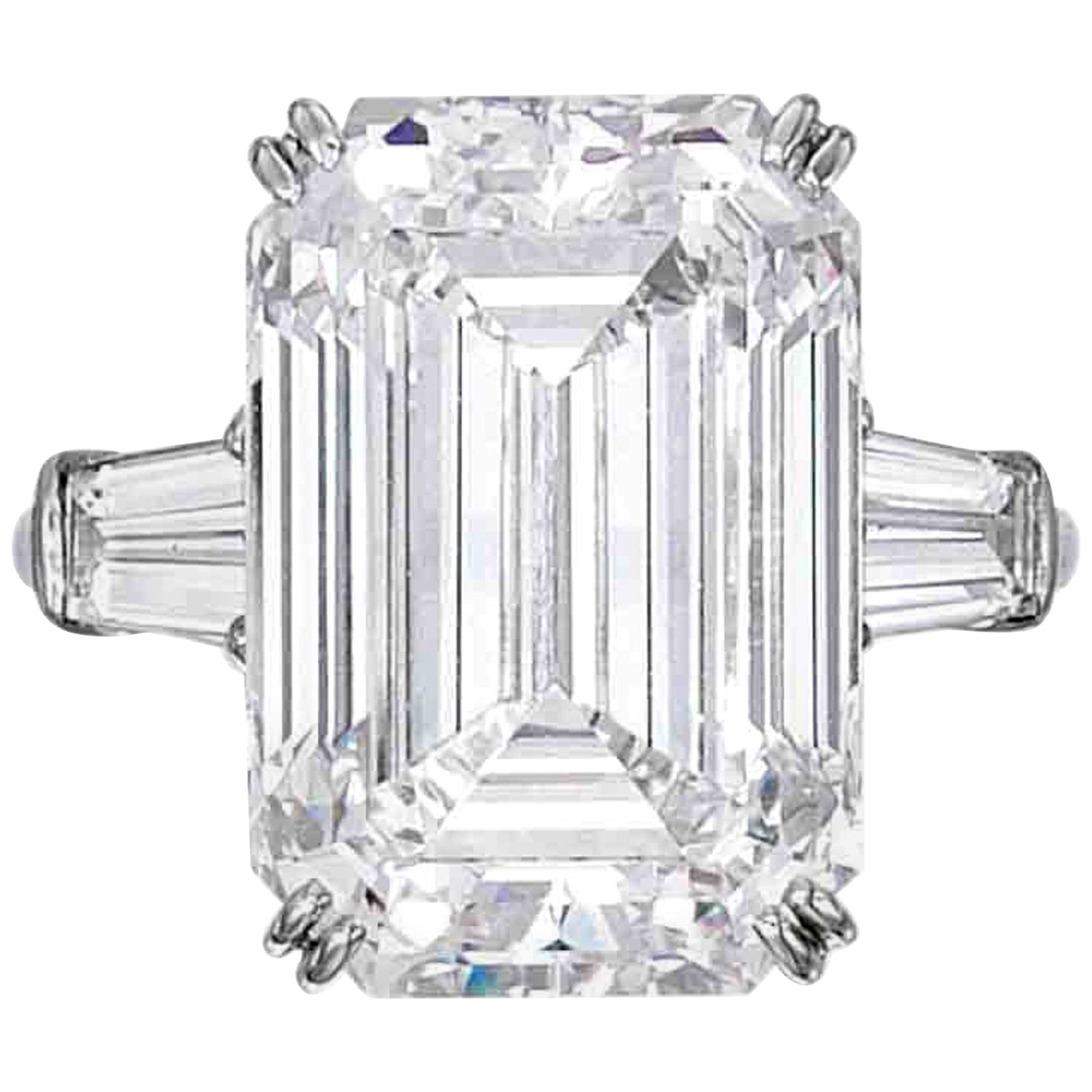 GIA Certified 7 Carat Emerald Cut Diamond Platinum Ring VS1 Clarity E Color