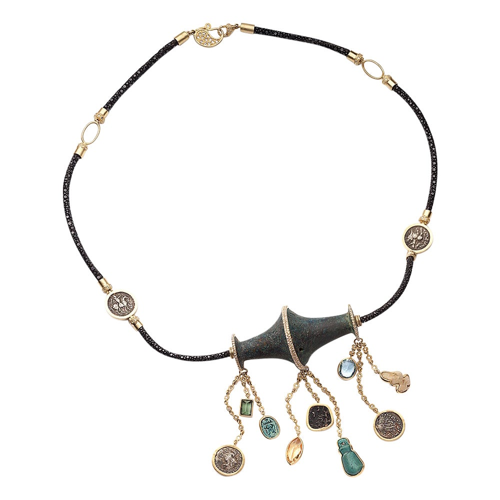 Hanging Antiquities Necklace in 20K Yellow Gold with Diamonds