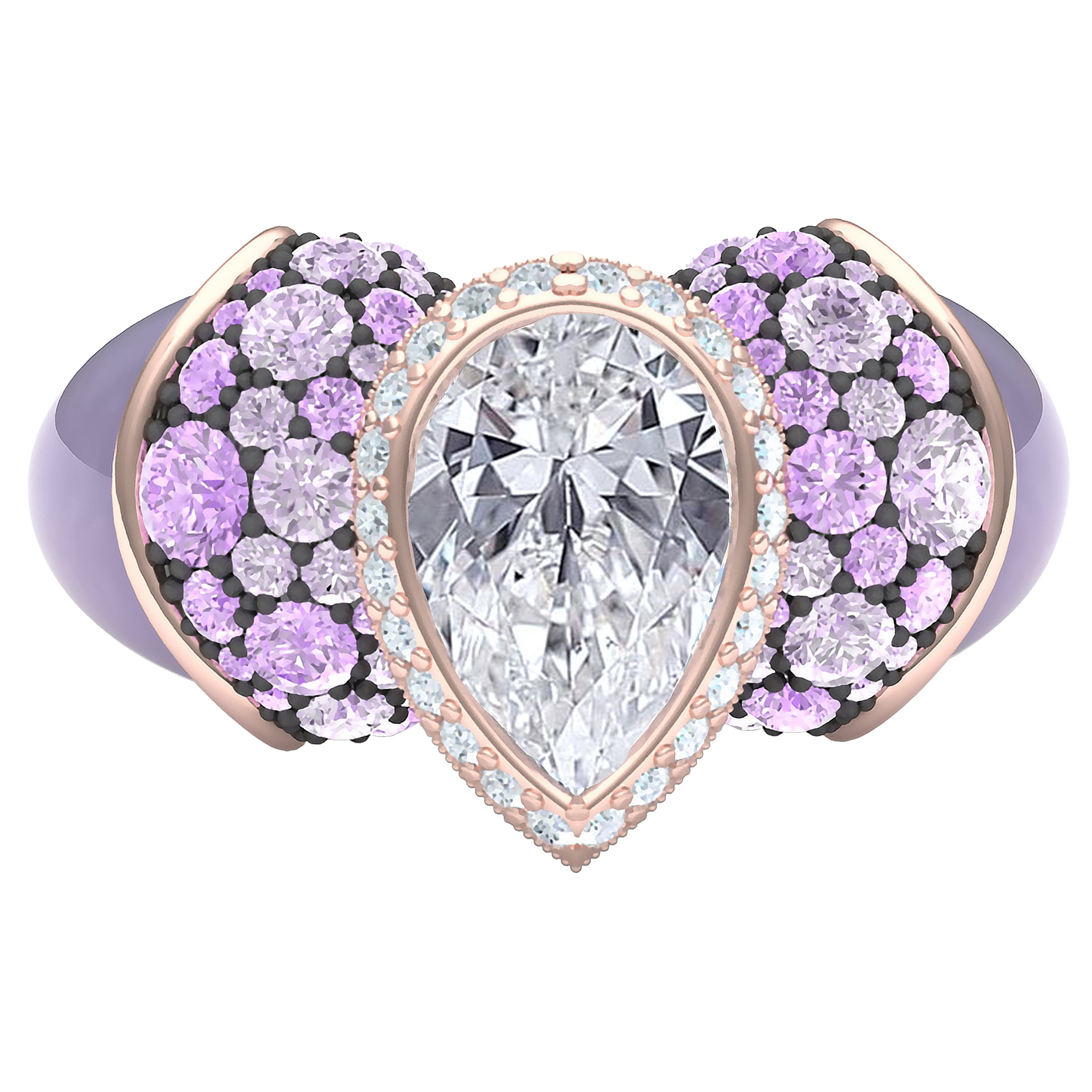 1 Carat Lavender Sapphire and Diamond Cocktail Ring