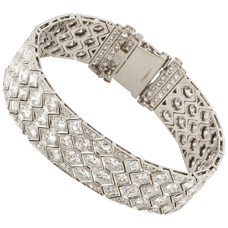 Art Deco Platinum Diamond Honeycomb Strap Bracelet