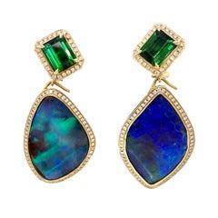 Katherine Jetter Boulder Opal and Green Tourmaline Earrings