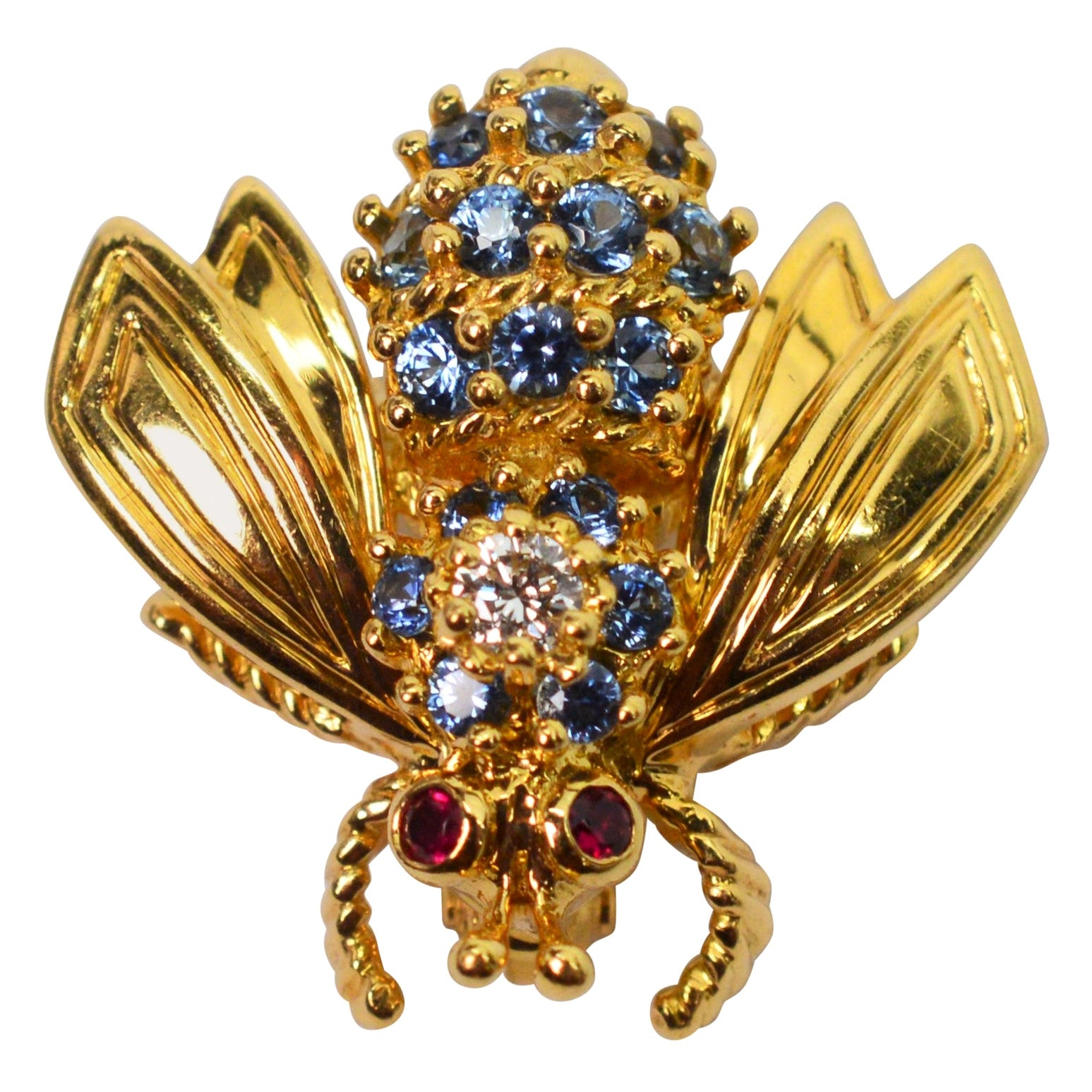 Blue Sapphire Diamond Yellow Gold Tiffany & Co. Bee Pin Brooch