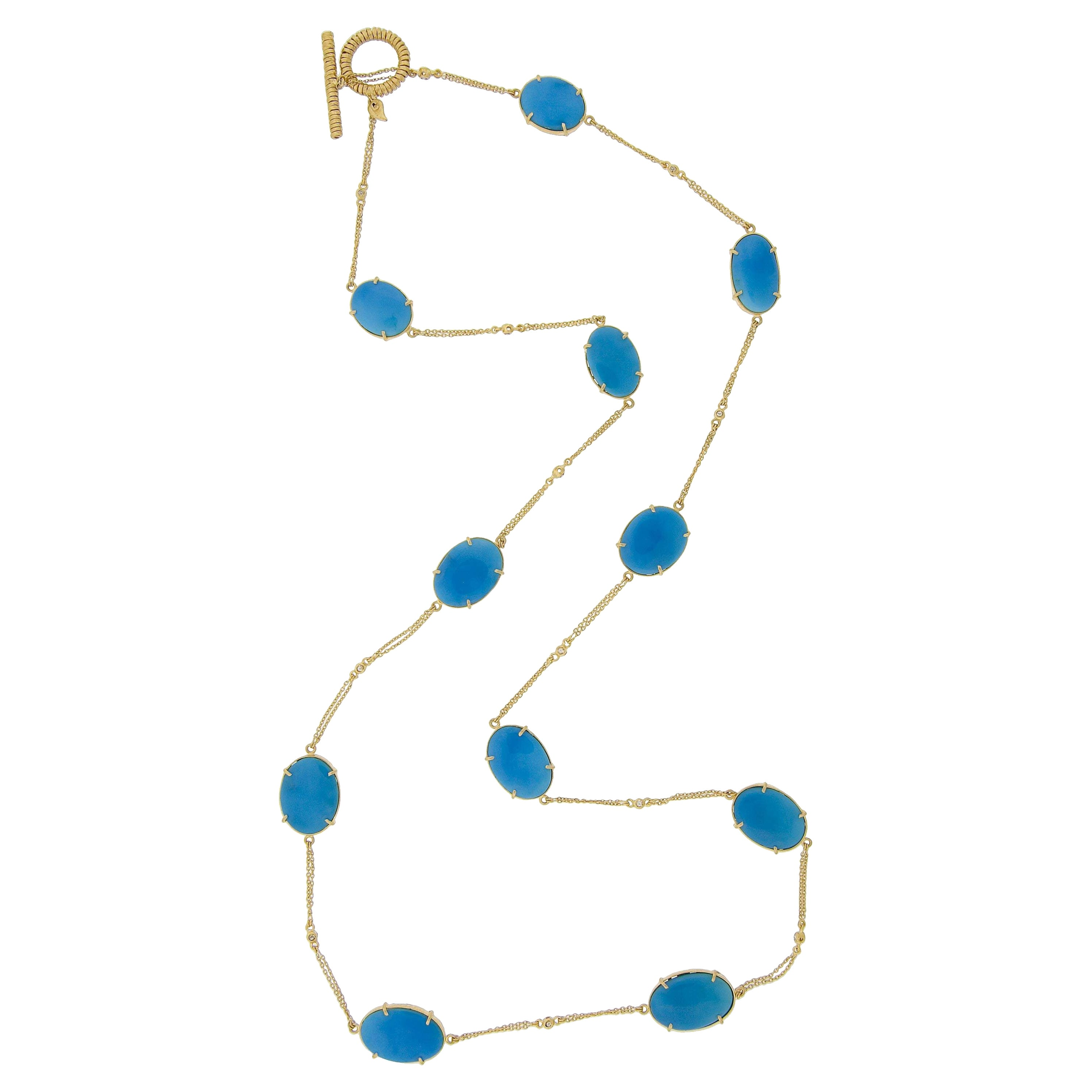 Turquoise Nuggets and Diamond Necklace in 20K Yellow Gold