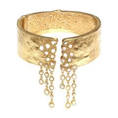 20K Yellow Gold Cuff with Opera Style Hanging Diamonds