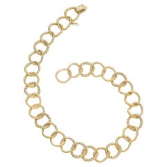 Wrapped Wire Circle Necklace in 20K Yellow Gold with Diamonds
