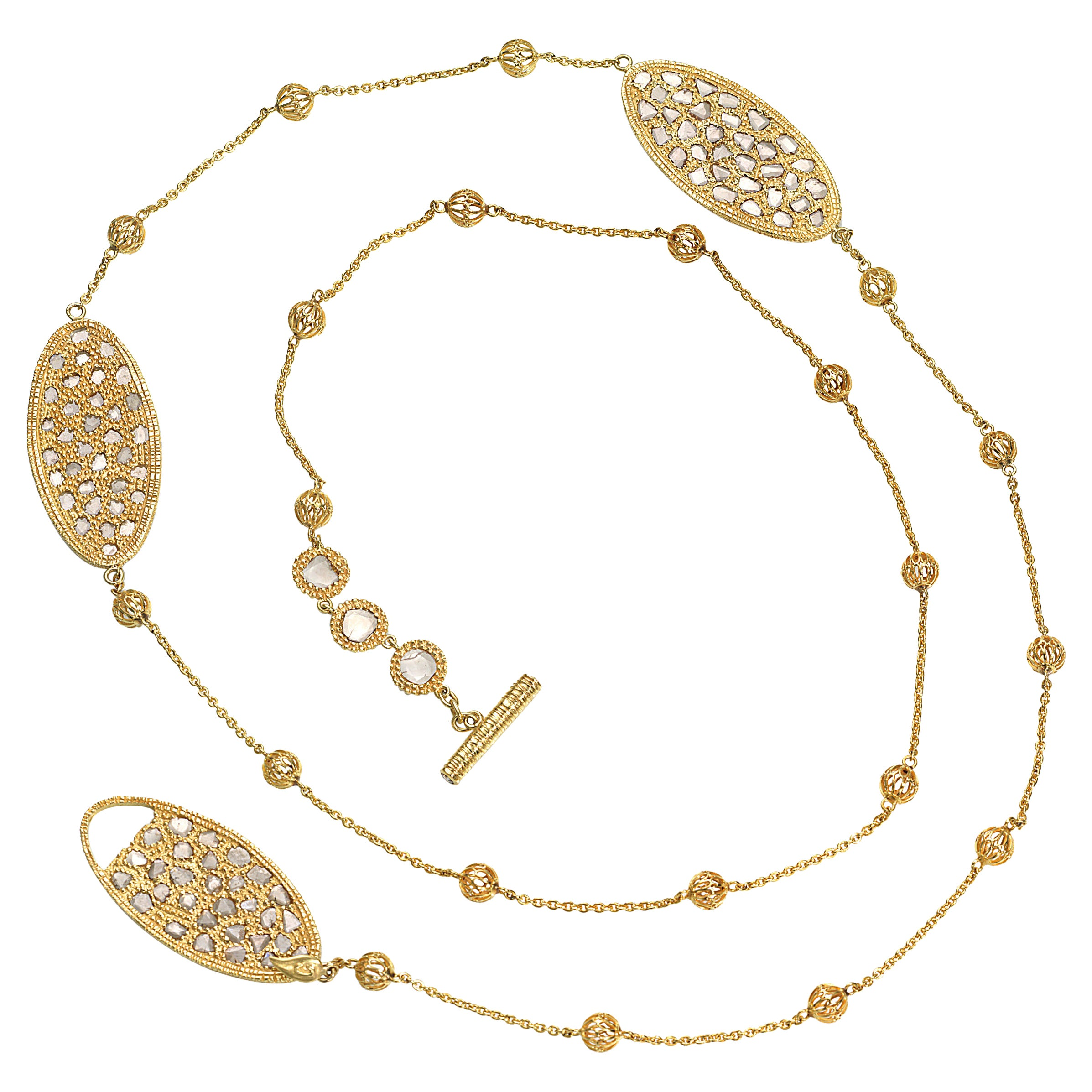Three Oval Necklace in 20K Yellow Gold with Rose-Cut Diamonds