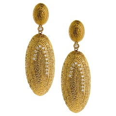 Oval Hammered Wire Earring with Diamonds in 20K Yellow Gold
