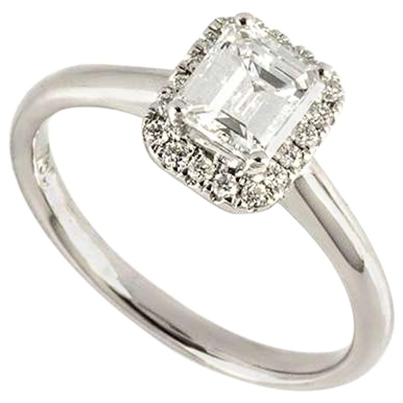 GIA Certified Emerald Cut Diamond Engagement Ring 0.74 Carat D/VS2