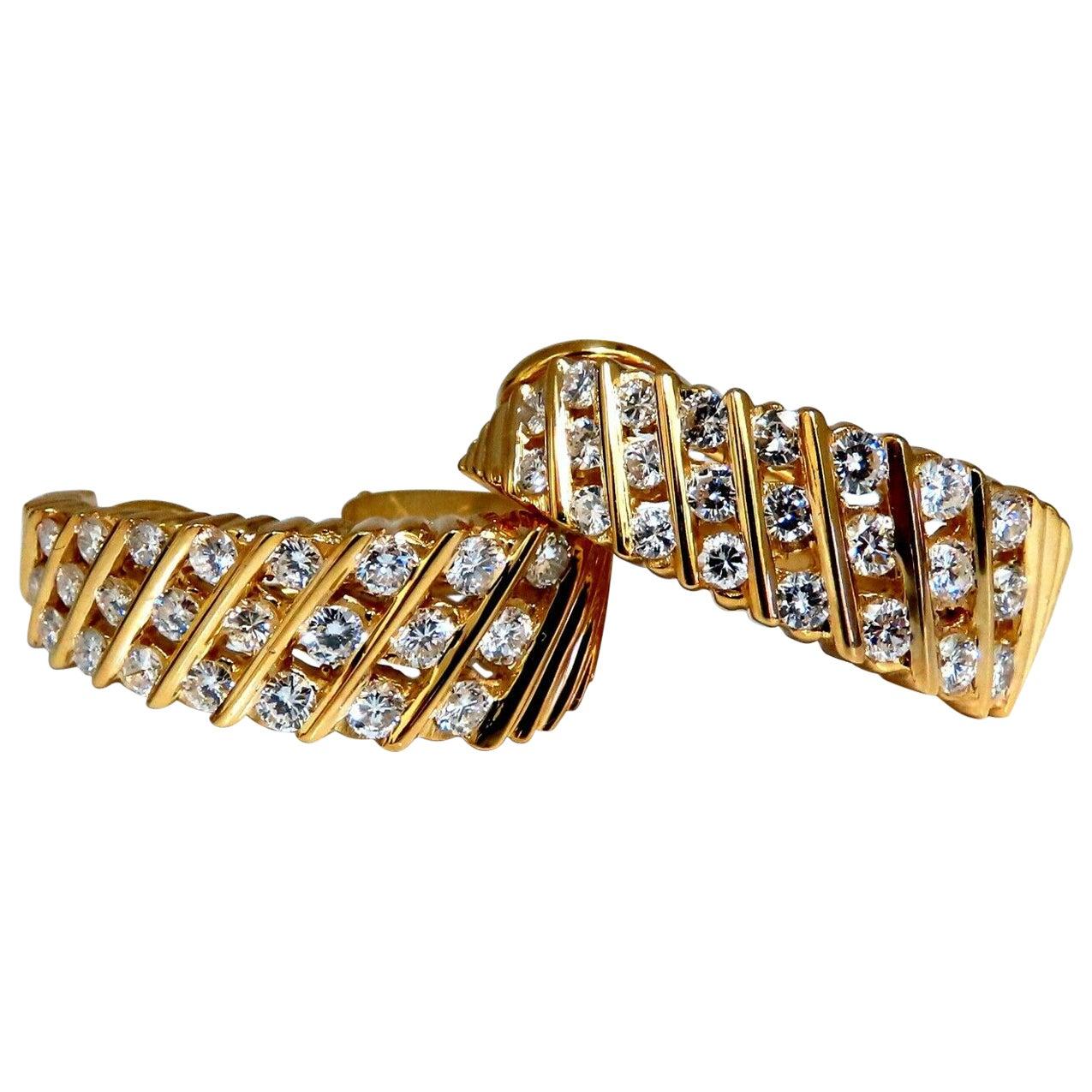 1.10 Carat Natural Diamonds Slant Row Channel Semi Hoop Earrings 14 Karat