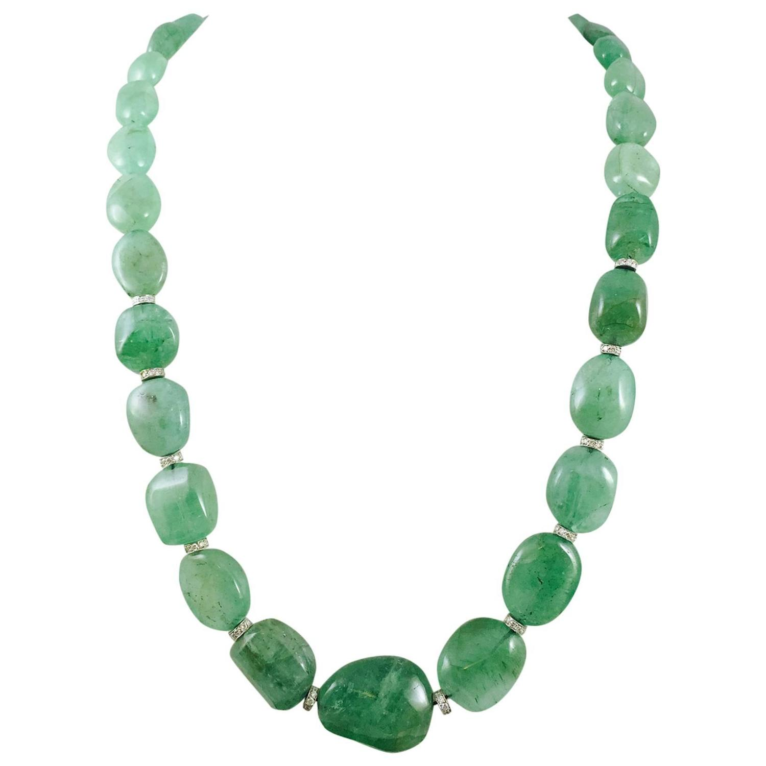 alluring emerald bead necklace with rondelles for