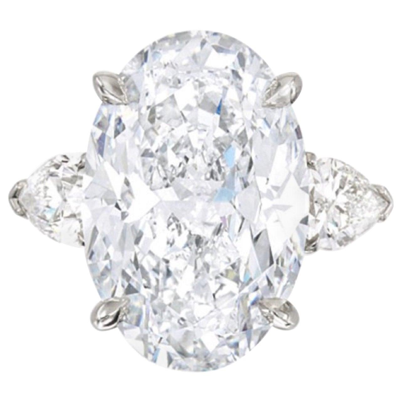 GIA Certified 4 Carat Oval Diamond Platinum Ring D Color VVS2 Clarity