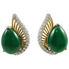 Jadeite Jade Diamond gold Earrings
