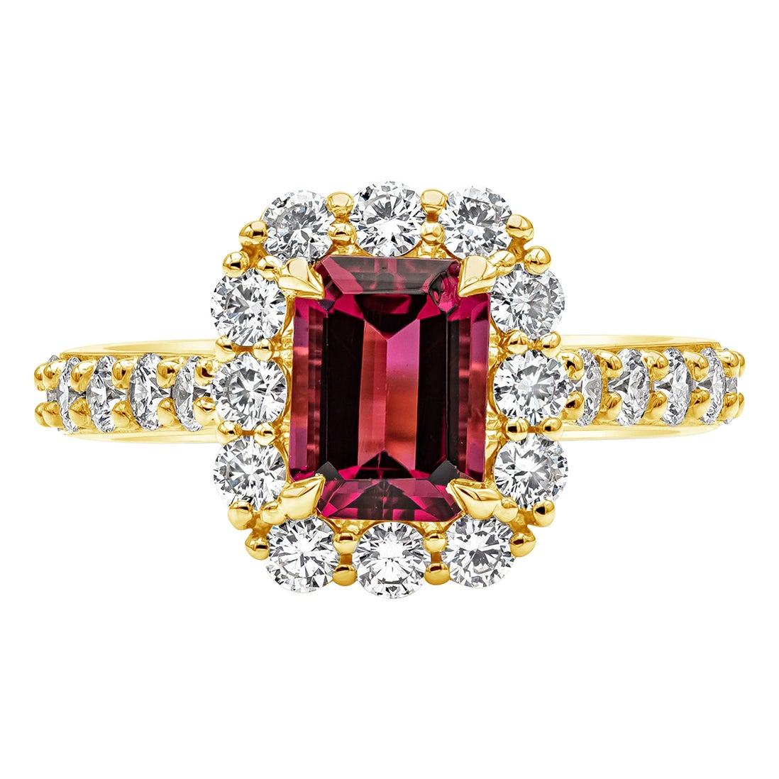 1.58 Carat Emerald Cut Rubellite and Diamond Halo Engagement Ring