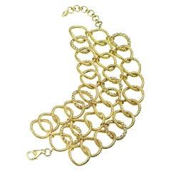 Wrapped Wire Three Row Bracelet with 0.30 Carat Rose-Cut Diamonds