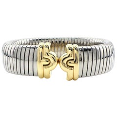 Bvlgari Bulgari Parentesi Tubogas Bangle Bracelet Cuff 18 Karat Gold Steel
