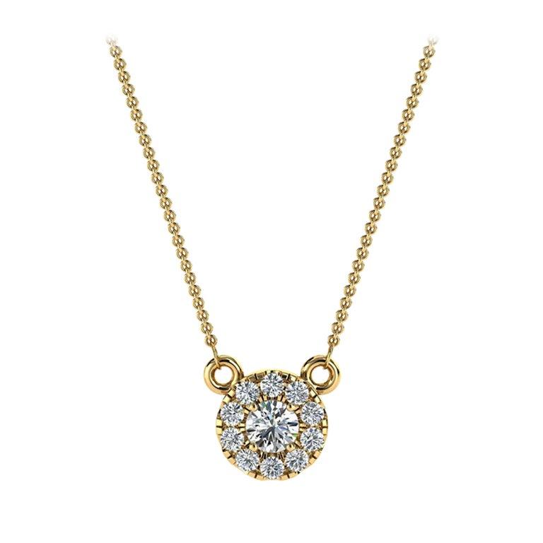 18 Karat Yellow Gold Petite Halo Diamond Pendant '0.10 Carat'