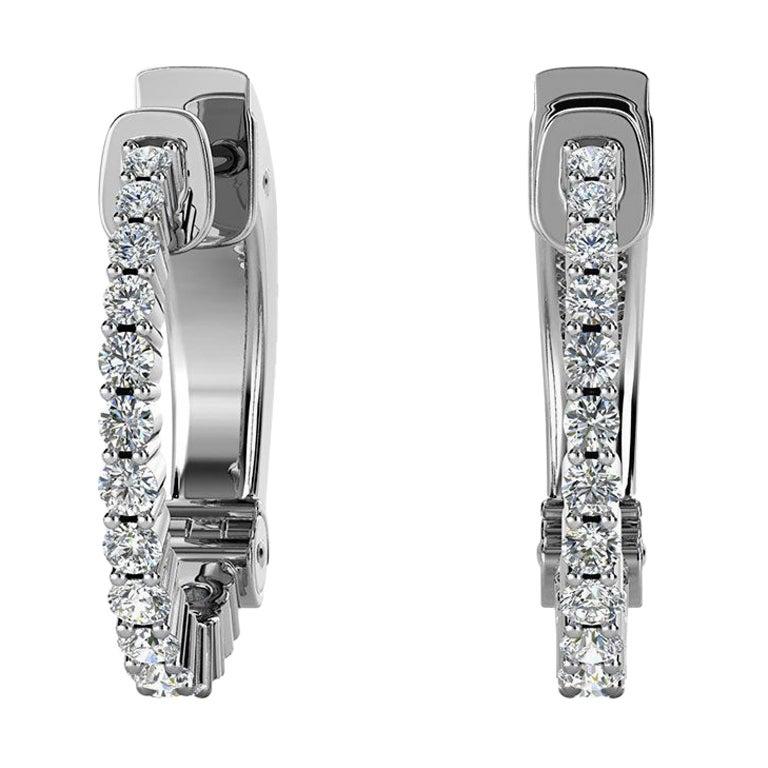 18 Karat White Gold Hoop Diamond Earrings '1/2 Carat'