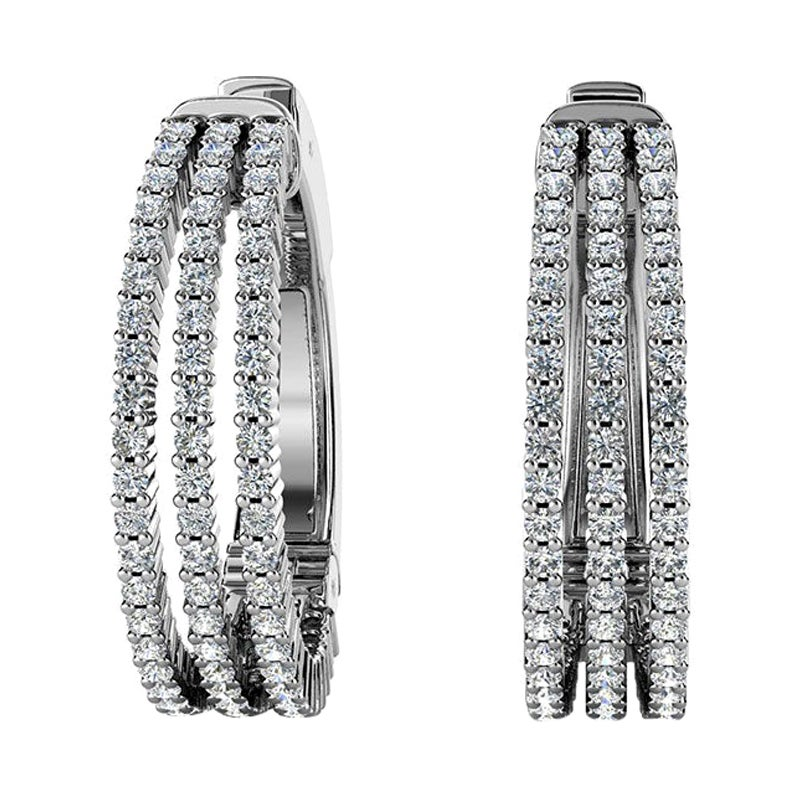 18 Karat White Gold Three-Row Hoop Diamond Earrings '1 1/2 Carat'