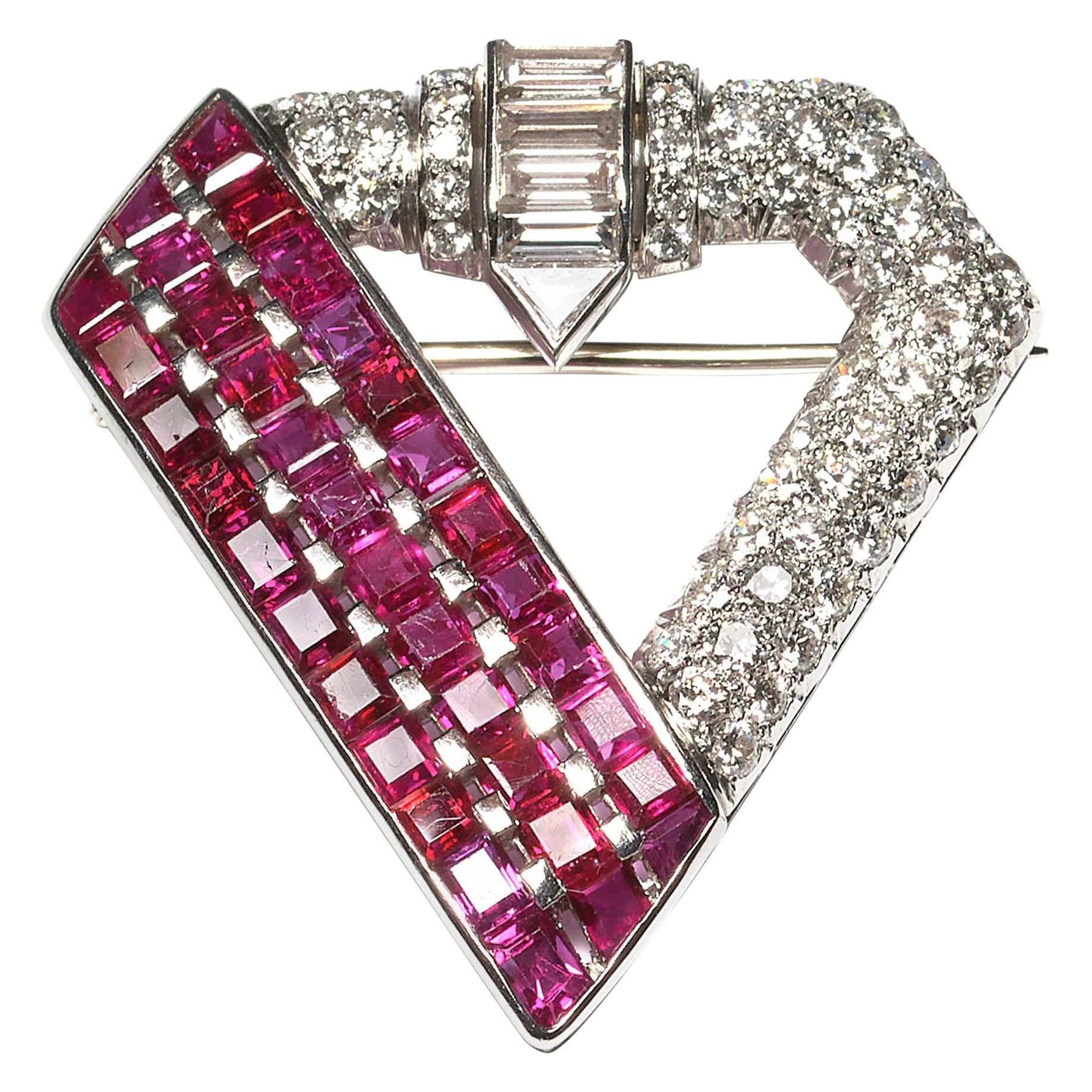 Ruby and Diamond Platinum Brooch, circa 1940