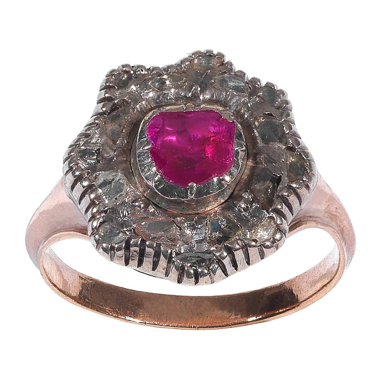 Georgian Ruby Diamond Silver Gold Cluster Ring