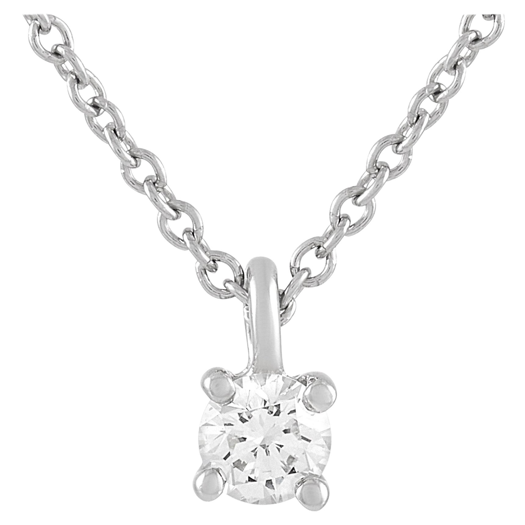 Tiffany & Co. Platinum 0.15 Carat Diamond Solitaire Necklace
