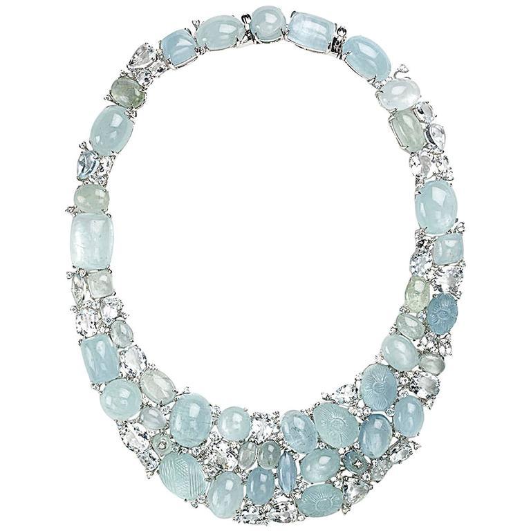 Aquamarine diamond gold Necklace