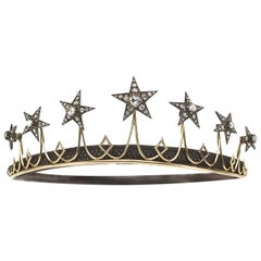 Antique Diamond Star Tiara Circa 1850