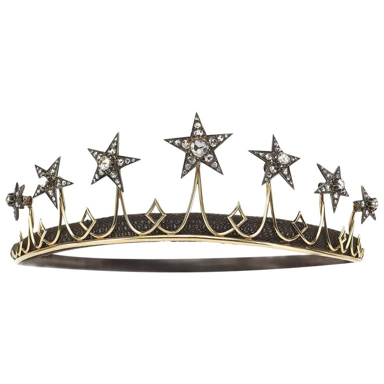 Victorian Diamond Silver Gold Star Tiara