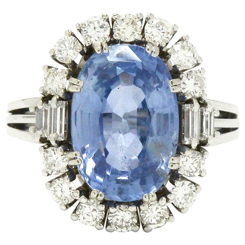 Certified No Heat 7 Carat Ceylon Sapphire Engagement Ring Cocktail Diamond Halo