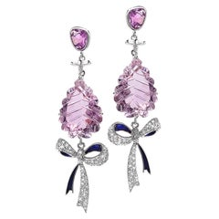 White Gold Bow Earrings with Purple Sapphire, Amethyst, and Diamonds