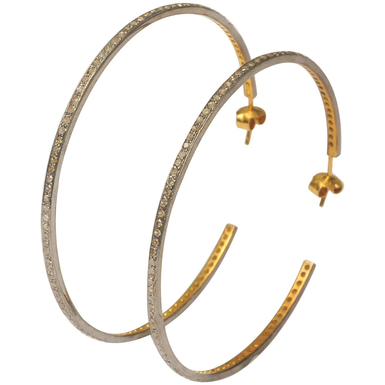Pair Of Large Sterling Diamond Gold Hoop Earrings At 1stdibs. Bird Pendant. 3 Carat Engagement Rings. Class Watches. Hamsa Pendant. Mikimoto Pearl Pendant. Simple Gold Bangle Bracelet. Floral Earrings. Expandable Bangle Charm Bracelets