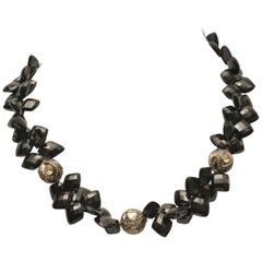 Faceted Black Onyx and Diamond Beaded Necklace by Deborah Lockhart Phillips