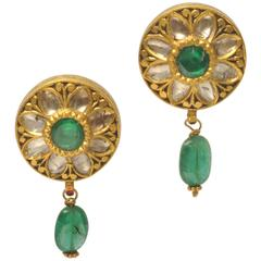 Rare Rosecut Diamonds, Faceted Emerald and 22 Gold Earrings from India, C.1940's
