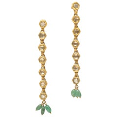 Rose Cut Diamonds 22 Karat Gold with Emeralds