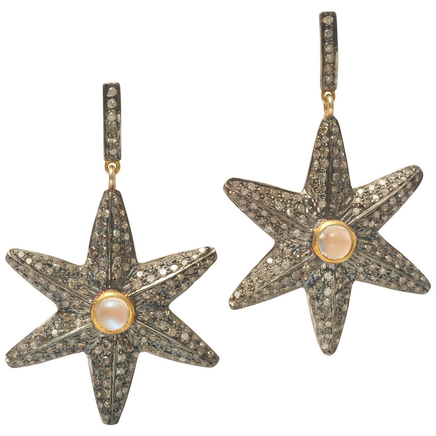 pave diamond moonstone sterling and gold star earrings at. Black Bedroom Furniture Sets. Home Design Ideas