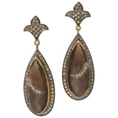 Smokey Quartz Faceted Earrings with Pave`- Set Diamonds