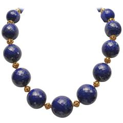 Natural Peacock Blue Faceted Lapis Lazuli Gold Necklace