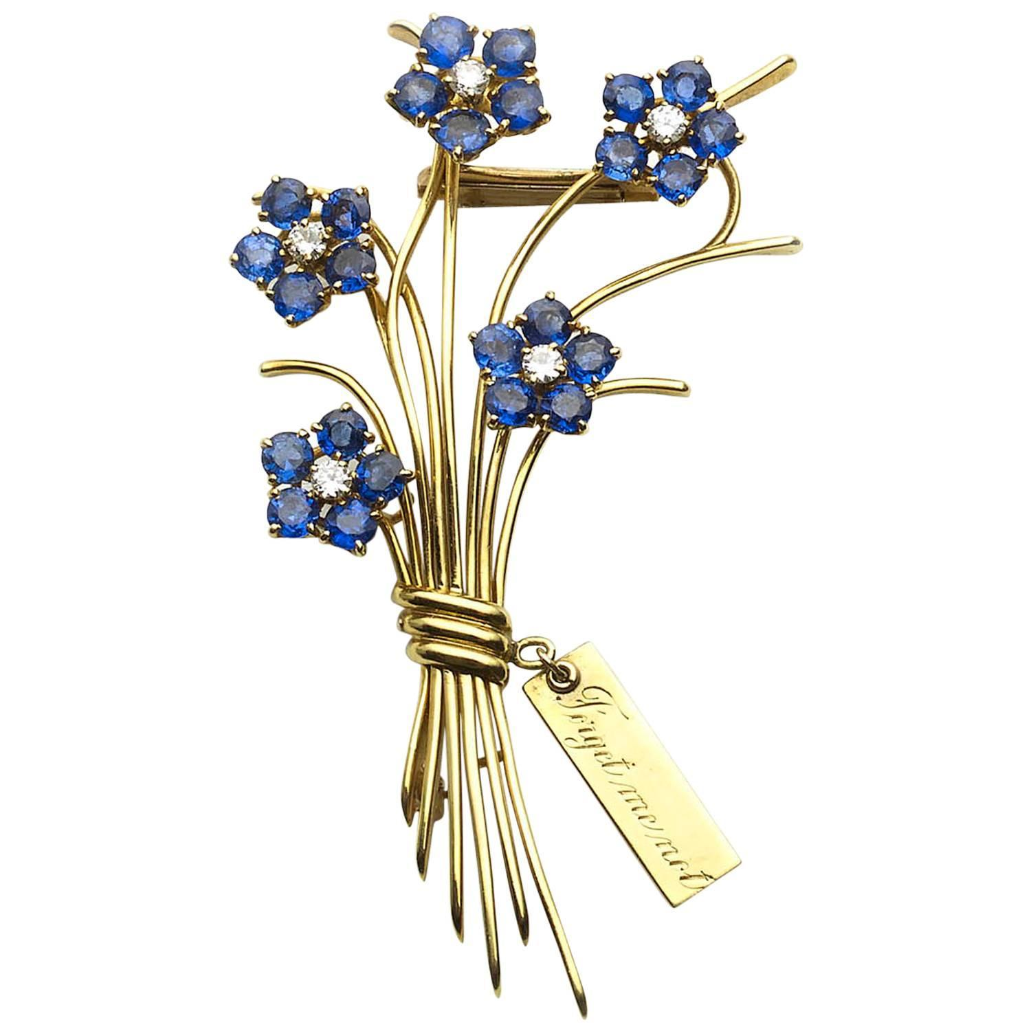 Van Cleef And Arpels Forget Me Not Flower Brooch For Sale