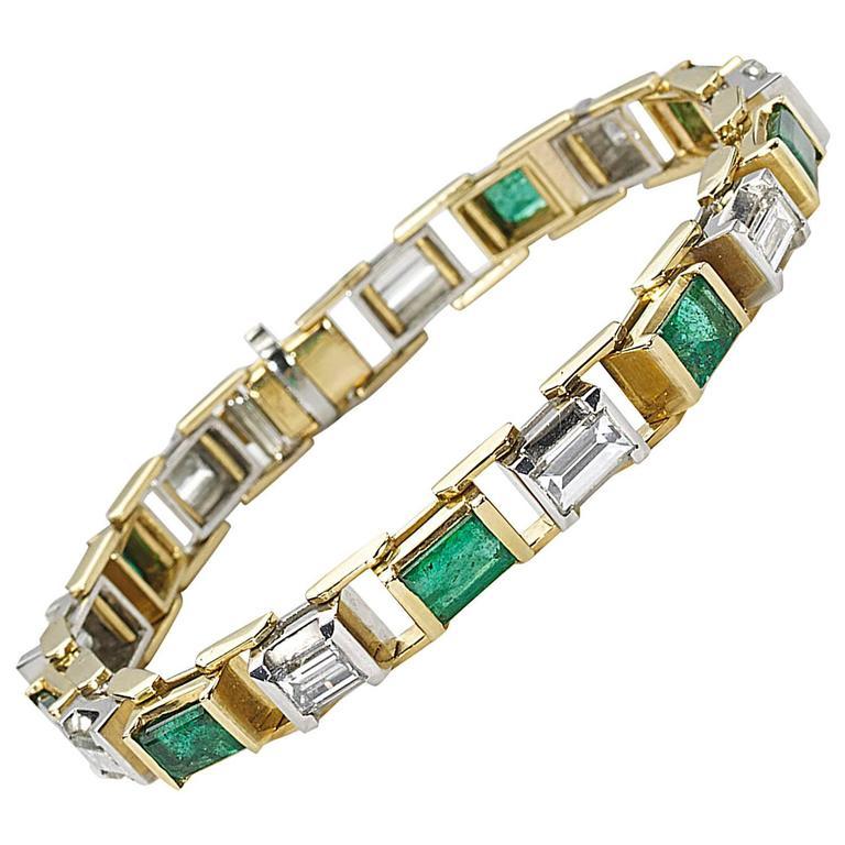 Tiffany And Co Emerald Diamond Gold Line Bracelet At 1stdibs