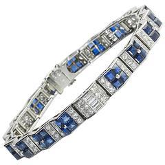 Cartier Art Deco sapphire diamond platinum bracelet