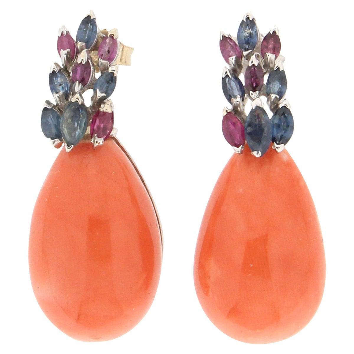 Handcraft Japan Coral 18 Karat White Gold Sapphires Rubies Stud Earrings