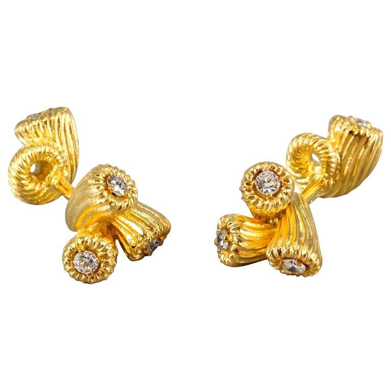 TIFFANY & CO. SCHLUMBERGER Cornucopia Diamond and Gold Cufflinks