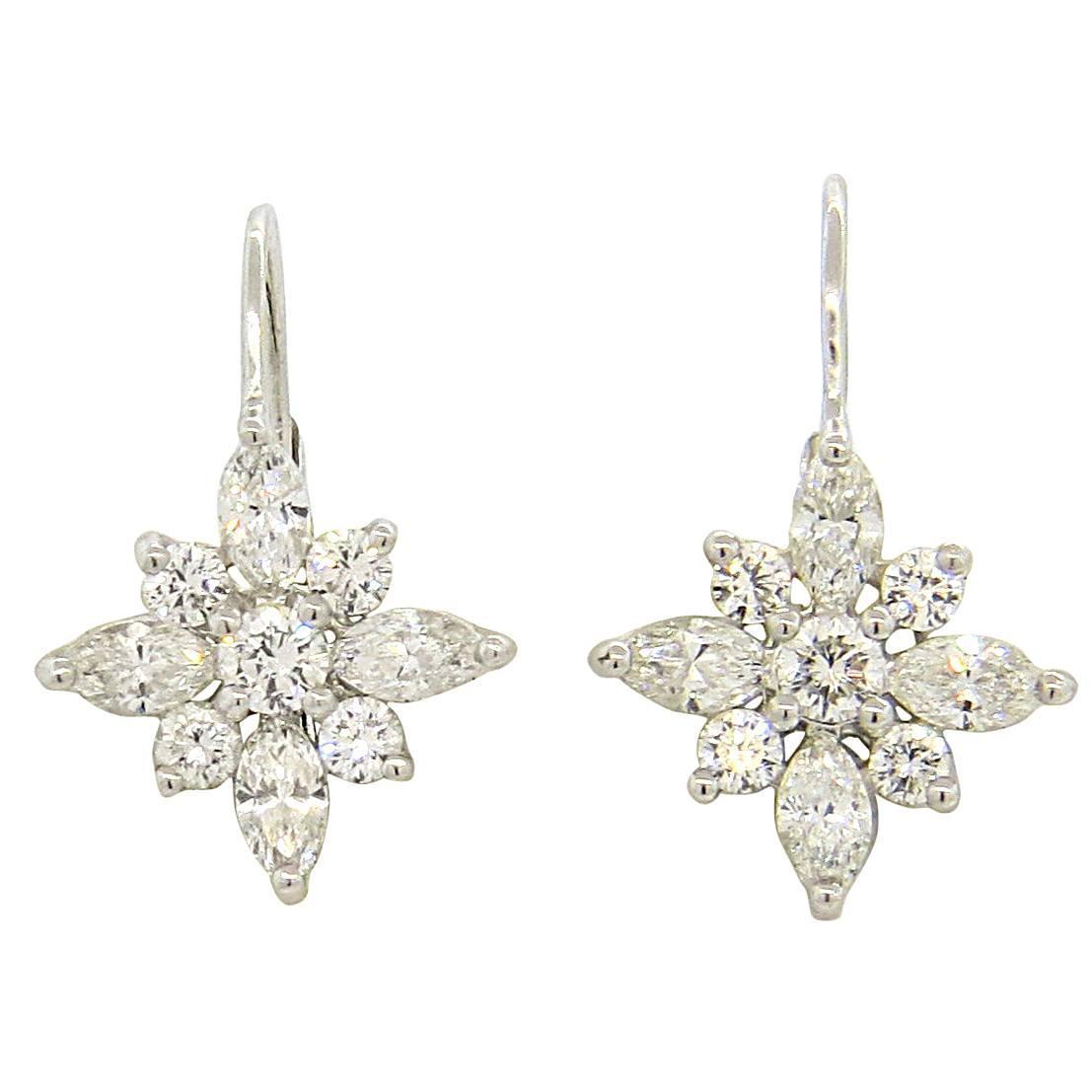 Kwiat Platinum Diamond Leverback Earrings At 1stdibs