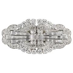 Art Deco Diamond Platinum Double Clip Brooch