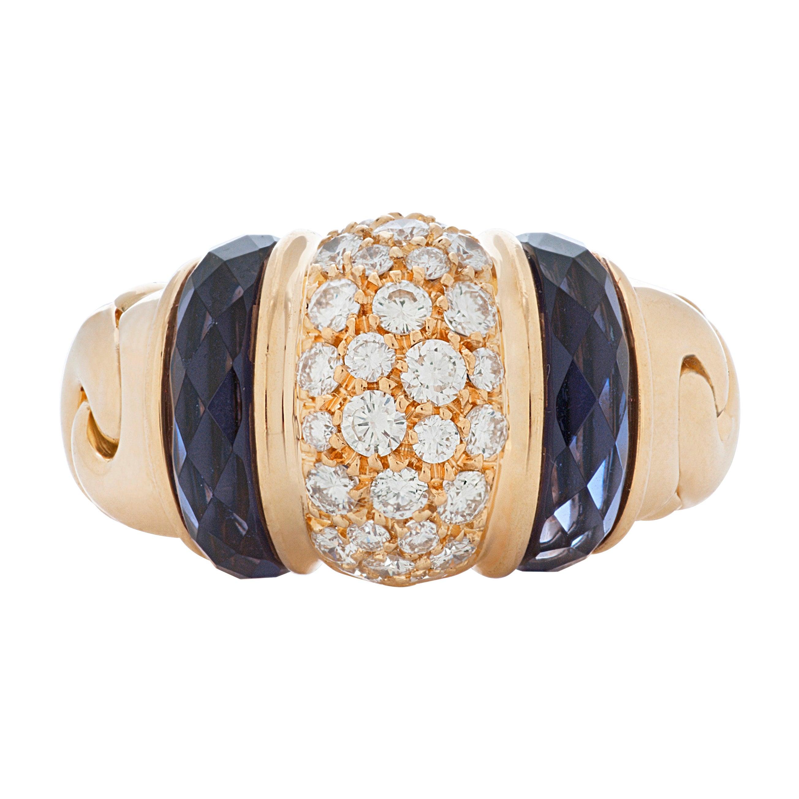 Bulgari Ganci Amethyst and Diamond Ring in 18k Yellow Gold