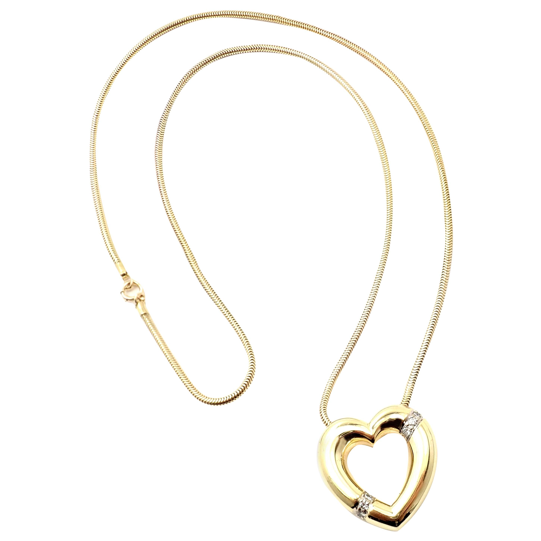 Tiffany & Co. Paloma Picasso Diamond Heart Yellow Gold Pendant Necklace