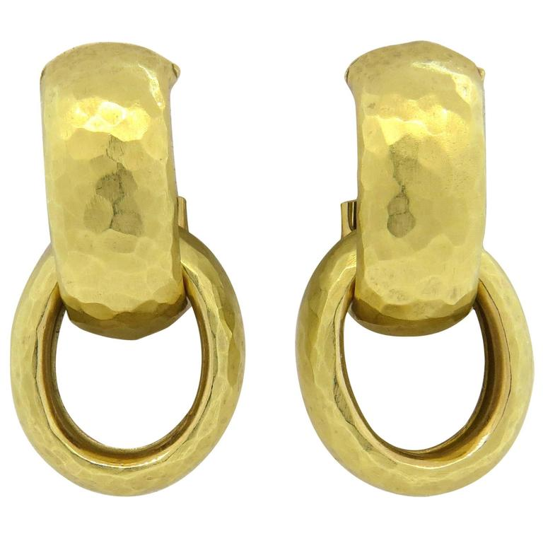 c3d10a24e Tiffany & Co Paloma Picasso Hammered Gold Hoop Drop Earrings For Sale