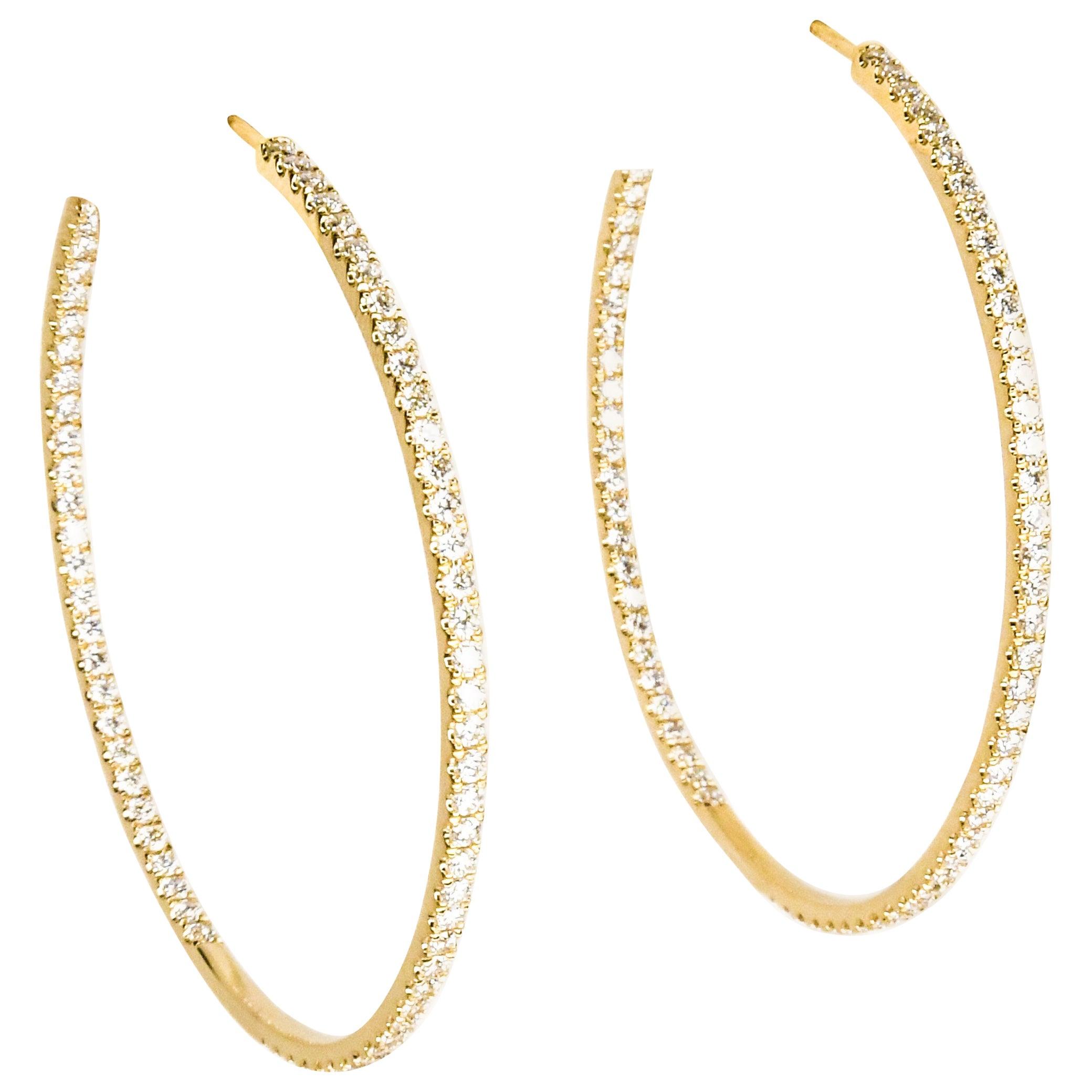 18 Karat Yellow Gold Inside Outside Diamond Pave Hoop Pierced Earrings
